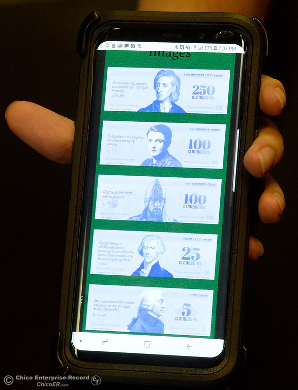 . A mobile app for a new cryptocurrency called CloudCoin is seen during an interview at the Chico Enterprise-Record office in Chico, Calif. Fri. Aug. 25, 2017.  (Bill Husa -- Enterprise-Record)