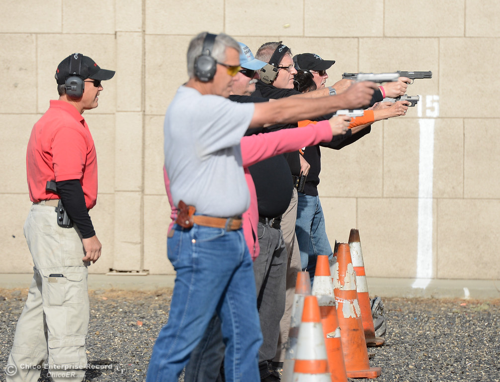 . Fifty people spent Saturday morning at the Butte County Sheriff\'s Office training facility, receiving instruction on home defense, practice ìshooting on the moveî drills and compete in a shooting competition with Sheriff Kory Honea Saturday October 21, 2017 in Oroville, California. (Emily Bertolino -- Enterprise-Record)