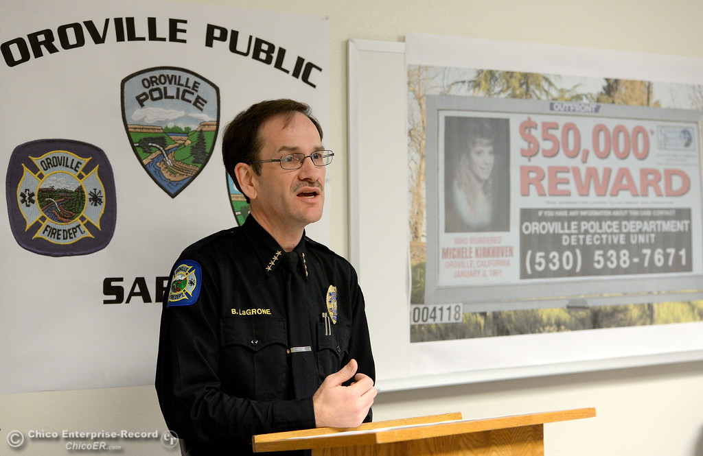. Oroville Police Chief Bill LaGrone talks about the case of 1991 homicide victim Michelle Kirkhoven during a press conference to announce new billoards posting a $50,000 reward for information leading to an arrest and conviction in the case at the Oroville Police Department Wednesday March 29, 2017. (Bill Husa -- Enterprise-Record)