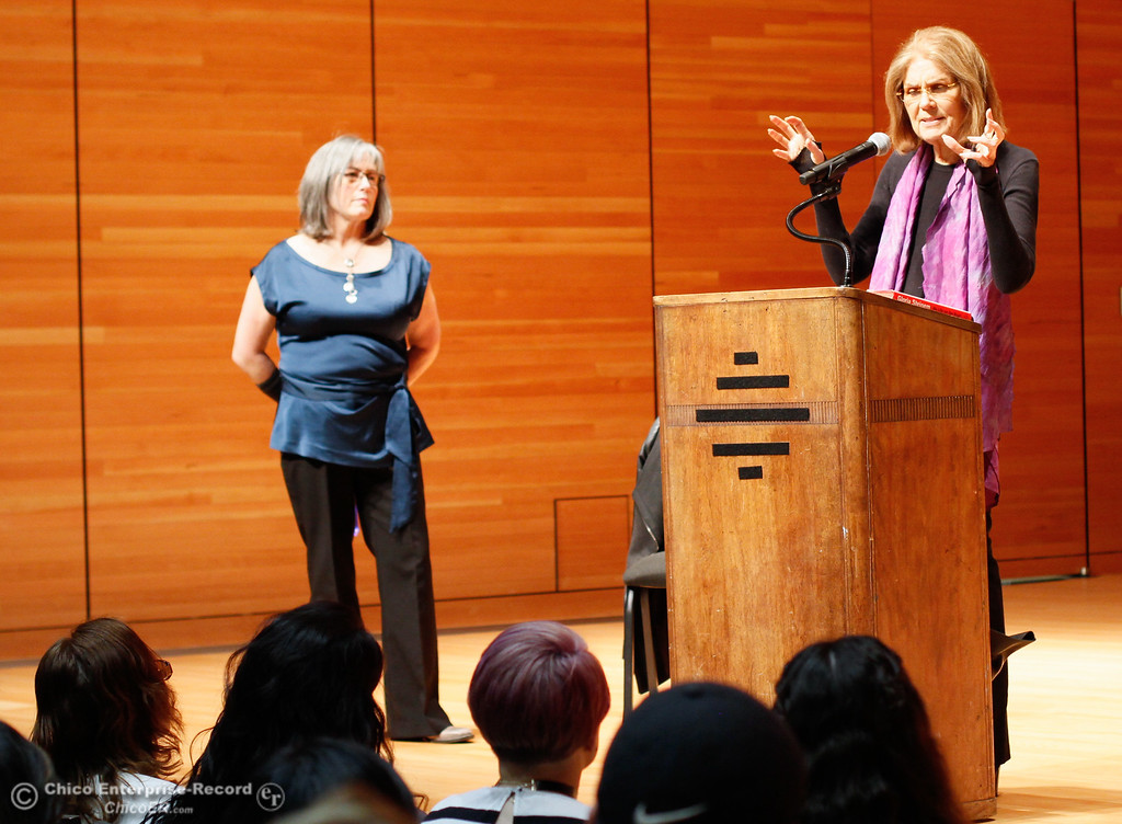 . Gloria Steinem answers questions from CSU, Chico students in the Capstone Seminar Classes, Multicultural and Gender Studies program and the Gender and Sexuality Equity Center Wednesday March 1, 2017 at Zingg Recital Hall in Chico, California. (Emily Bertolino -- Enterprise-Record)