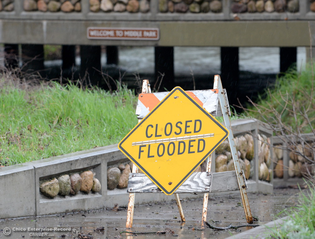 . This closed flooded sign has been posted near the bridge at Manzanita Ave. over Big Chico Creek in Middle Bidwell Park for most of the winter Monday Feb. 20, 2017. (Bill Husa -- Enterprise-Record)