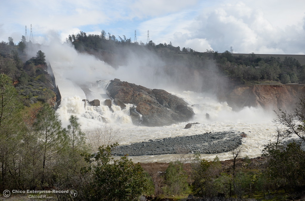 . Erosion continues to give a new look of sorts to the Spillway almost daily as work at the Oroville Dam, Oroville Spillway continues Tuesday Feb. 21, 2017. (Bill Husa -- Enterprise-Record)