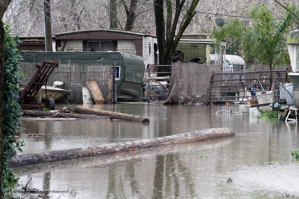 . The Sacramento River rises and floods the trailer park next to Scotty\'s Landing February 8, 2017 in Chico, California. (Emily Bertolino -- Enterprise-Record)