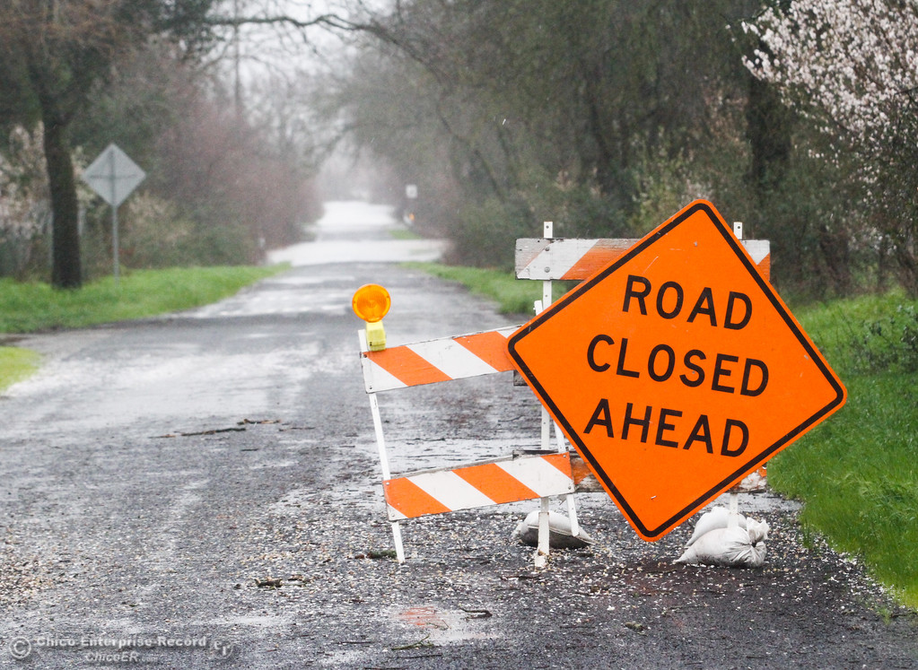 . A road closure along Middle Honcut Road February 20, 2017 in Oroville, California. (Emily Bertolino -- Mercury Register)