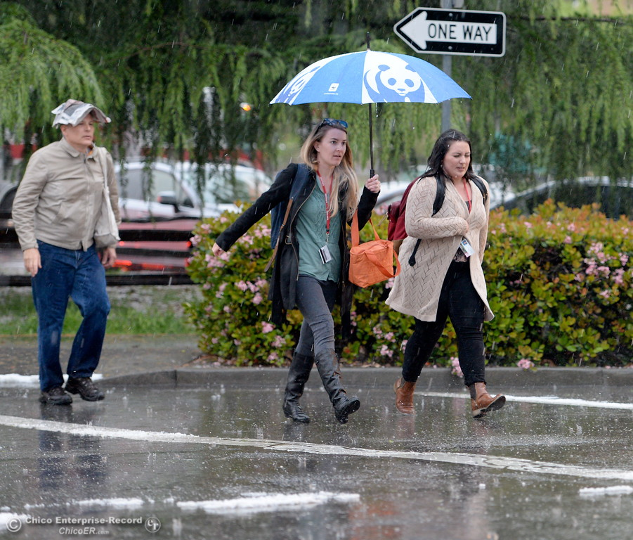 . Hail pounds down on people as they cross the Esplanade during a thunderstorm in Chico, Calif. Thurs. April 13, 2017. (Bill Husa -- Enterprise-Record)