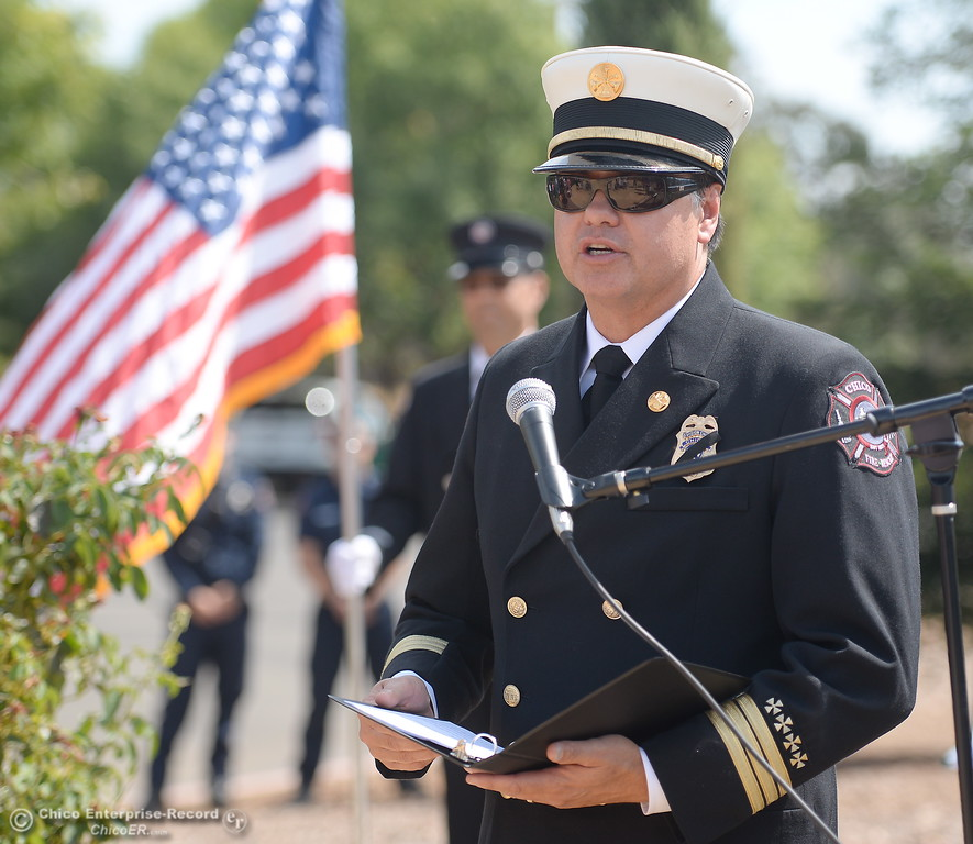 . Interim Chico Fire Chief Aaron Lowe speaks during the 9/11 memorial observance at Chico Fire Station Five on Manzanita Ave. in Chico, Calif. Monday Sept. 11, 2017. (Bill Husa -- Enterprise-Record)