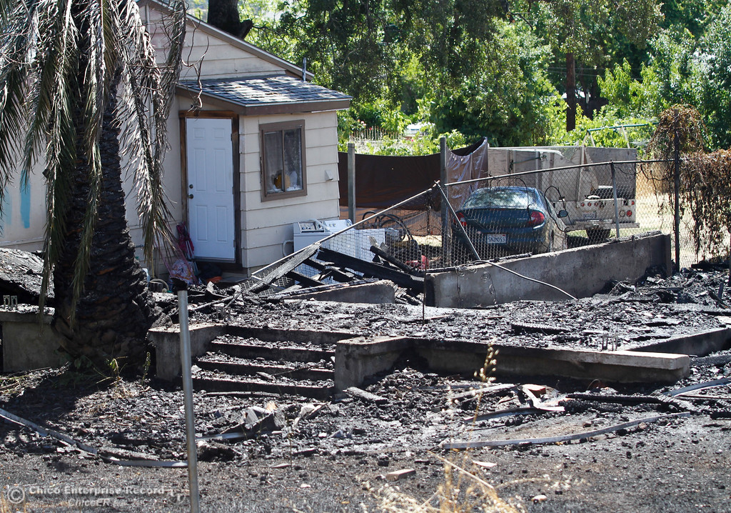 . The aftermath of a house fire on Myers Street in southside between Greenville and Oro-Bangor Thursday June 15, 2017 in Oroville, California. (Emily Bertolino -- Mercury Register)
