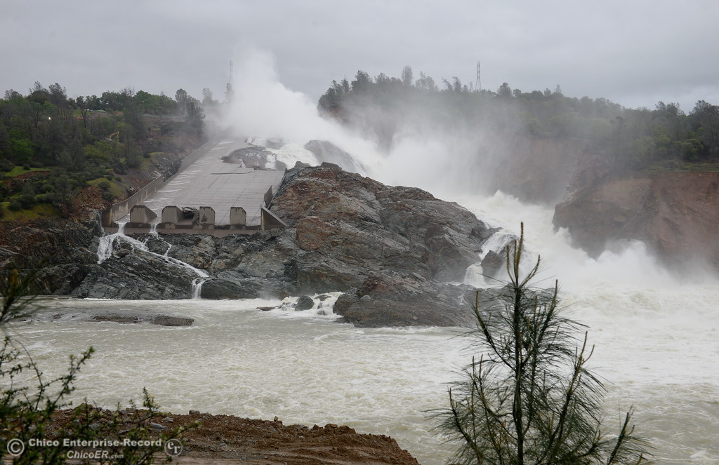 . The damaged Lake Oroville Dam Spillway is seen releasing approx. 40, CFS Wed. March 22, 2017. Current inflow is approx. 37,000 CFS. (Bill Husa -- Enterprise-Record)