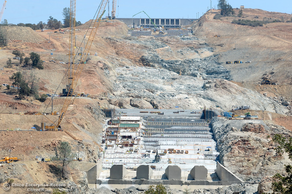 . Work continues at the Lake Oroville Dam Spillway Wednesday Aug. 9, 2017. (Bill Husa -- Enterprise-Record)