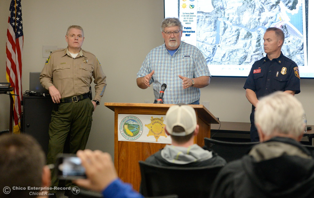. DWR acting Director Bill Croyle talks with members of the media as the Lake Oroville Dam Spillway emergency continues in Oroville, Calif. Frid. Feb. 17, 2017. (Bill Husa -- Enterprise-Record)
