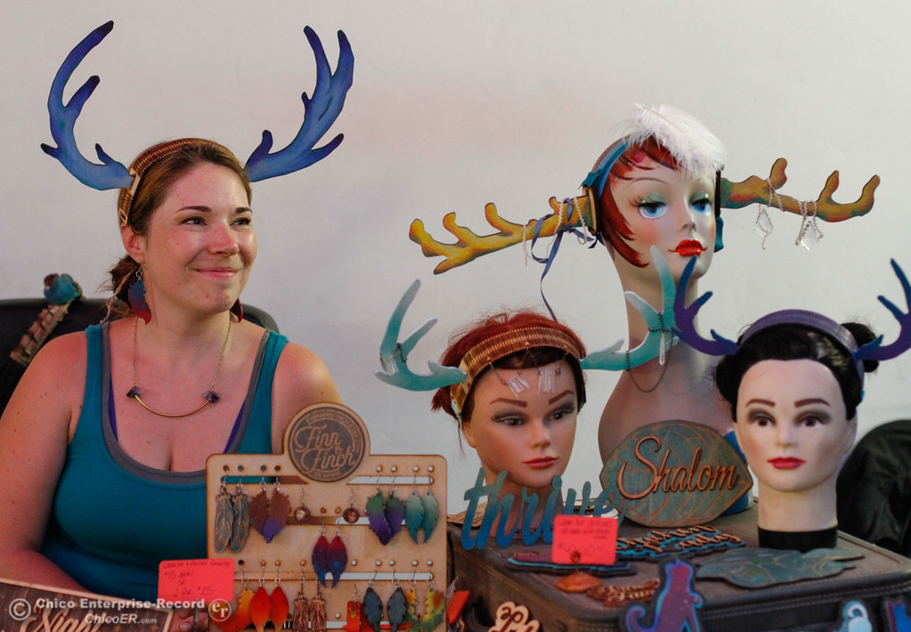 . Julie Banwellund and her laser cut antlers, earrings and custom made signs from Finn & Finch at the 4th annual Maker Show Case Saturday August 5, 2017 at Idea Fab Labs in Chico, California. (Emily Bertolino -- Enterprise- Record)