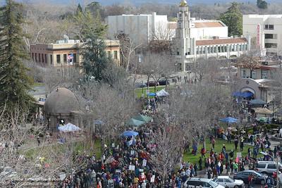 City Plaza is filled Saturday, Dec. 21, 2017, for the Chico Women's March in Chico, California. (Dan Reidel -- Enterprise-Record)