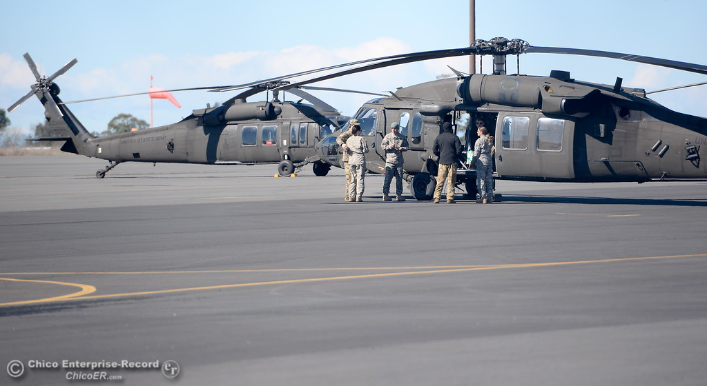 . Blackhawk helicopters are seen as Senator Kamala Harris visits with officials at the Oroville Airport in Oroville, Calif. Thurs. Feb. 23, 2017. (Bill Husa -- Enterprise-Record)