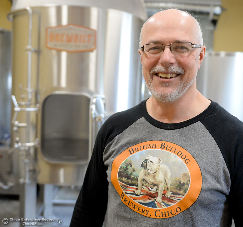 . Steve Kay smiles at the British Bulldog Brewery during a tour of the facility in Chico, Calif Mon. April 17, 2017. The golden retriever is Hugo.  (Bill Husa -- Enterprise-Record)