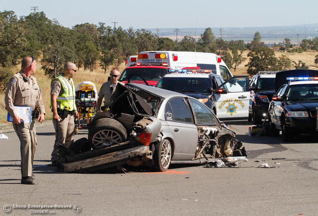 . A three car collision along Highway 32 at Humboldt Road sent one to the hospital Thursday June 15, 2017 in Chico, California. (Emily Bertolino -- Enterprise-Record)