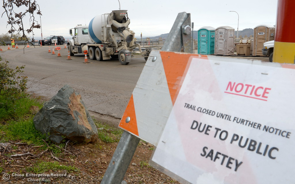 . Construction vehicles and authorized vehicles only are seen these days as work continues at the Lake Oroville Dam Tues. March 7, 2017. (Bill Husa -- Enterprise-Record)