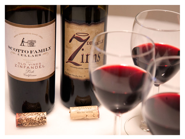 2011 Lodi Zinfandel Tasting - Scotto Family Cellars (in front) and 7 Deadly Zins (in back) Poured in Wine Glasses