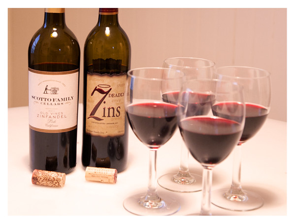 2011 Lodi Zinfandel Tasting - Scotto Family Cellars (on Left) and 7 Deadly Zins (on Right) Poured in Wine Glasses