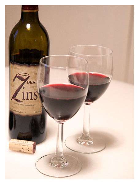 2011 7 Deadly Zins Poured in Wine Glasses