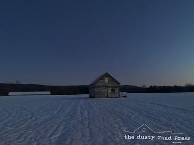 Twilight Snow Barn