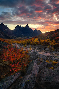 An Autumn Sunset with Tombstone Mountain