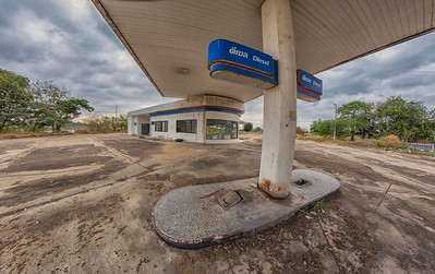 an abandoned gas station in Nakhon Sawan Province, Thailand