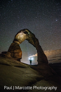 Delicate Arch, Arches national park, Utah, Stars