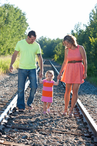 Walking on the tracks - family photos Sylvan Lake