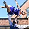 KRISTOPHER RADDER — BRATTLEBORO REFORMER<br /> Jan Damm and Ariele Ebacher, performers at New England Center for Circus Arts, in Brattleboro, Vt., put a show for residents at Thompson House Rehabilitation & Nursing Center, in Brattleboro, on Wednesday, May 20, 2020.