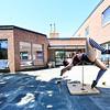 KRISTOPHER RADDER — BRATTLEBORO REFORMER<br /> Rachel Hipszer, a performer at New England Center for Circus Arts, in Brattleboro, puts a show for residents at Thompson House Rehabilitation & Nursing Center, in Brattleboro, on Wednesday, May 20, 2020.