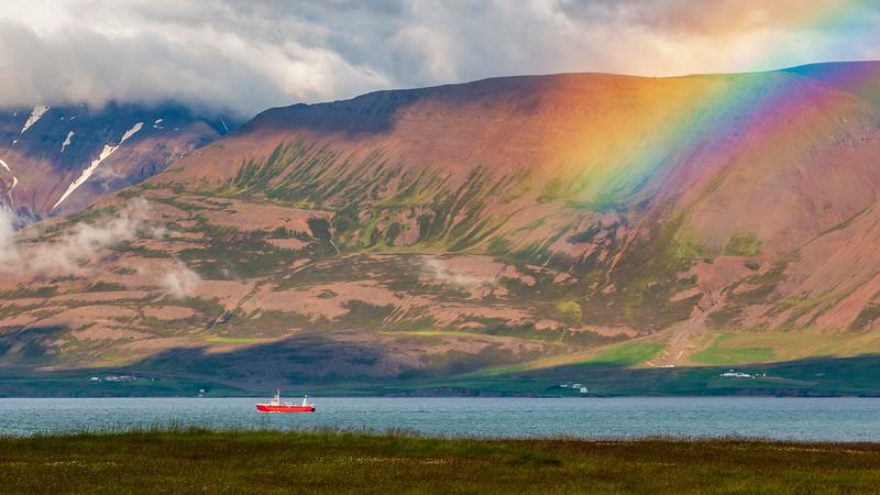 Iceland-Eyjafjörður rainbow cloud