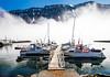 Iceland-Westfjords-Isafjordur-Harbor in fog