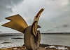 ICELAND-Borgarnes-Brákin sculpture