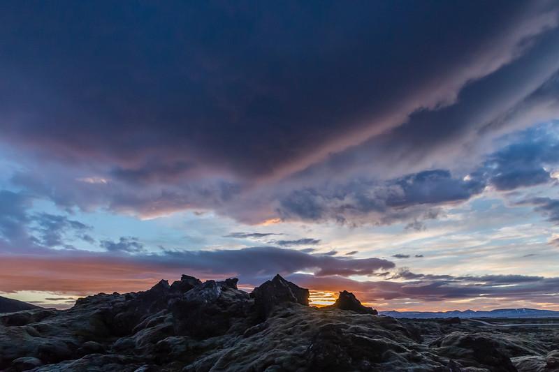 Iceland-Lava field sunset near Reykjavik