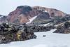 Iceland-Highlands-Fjallabak Nature Reserve-Snow on lava fields