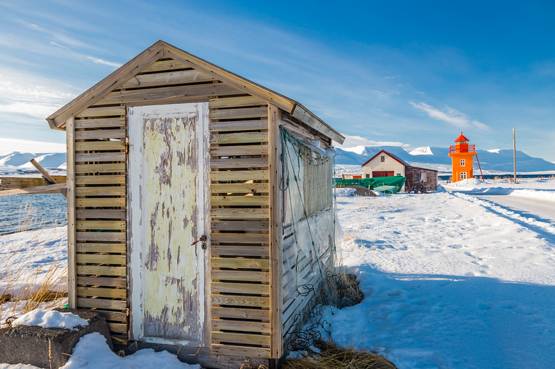 ICELAND-Svalbarðseyri-Svalbarðseyrarviti-FISH DRYING RACKS