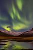 Iceland-Stöðvarfjörður-Northern Lights and full moon