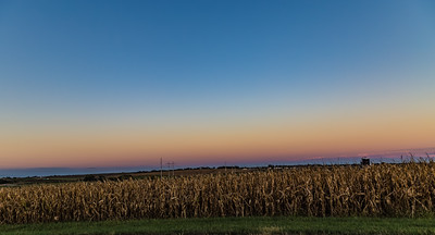 Sunset skyline over corn field. Silos on far right.