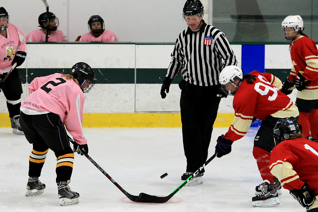 . The Have a Heart St. Valentine\'s Day Hockey Tournament is being held on February 8th to 10th 2019 at Fitchburg State University\'s Wallace Civic Center. One of the games on Friday afternoon was between the Fitchburg Women\'s Hockey League and the Nips & Suds. Nips\' Whitney Wykoff and FWHL\'s Katie Parhiala try to control the puck during a faceoff. SENTINEL & ENTERPRISE/JOHN LOVE