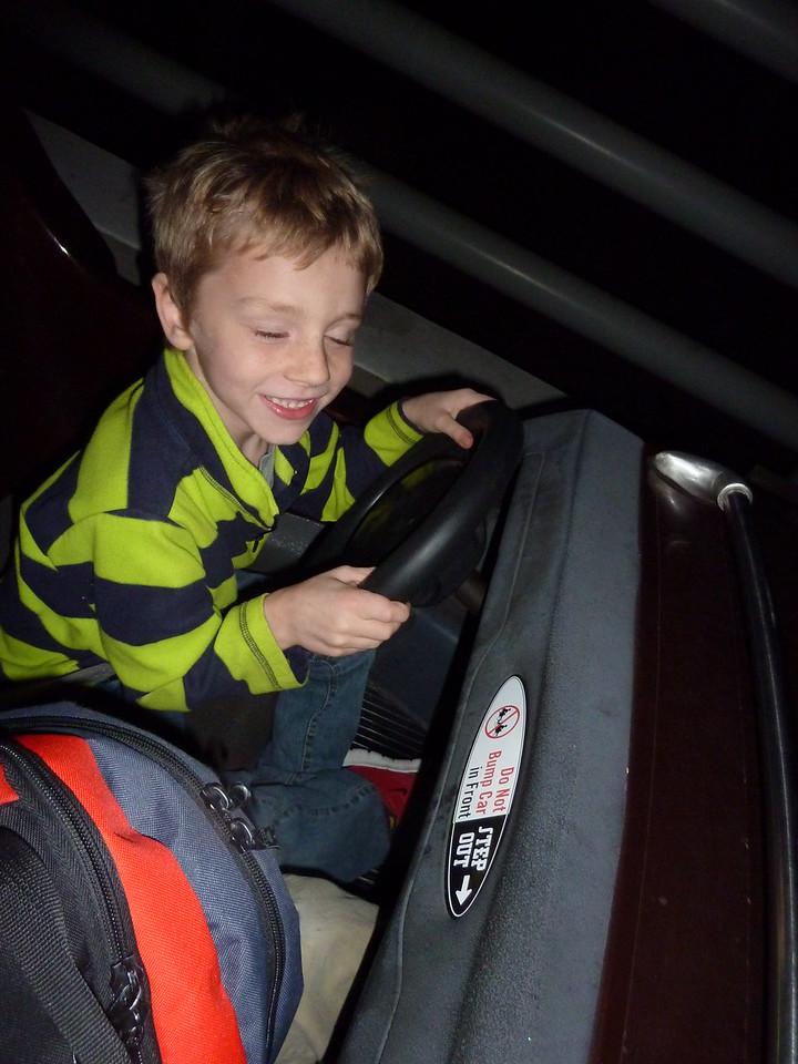 Soren driving the go-cart