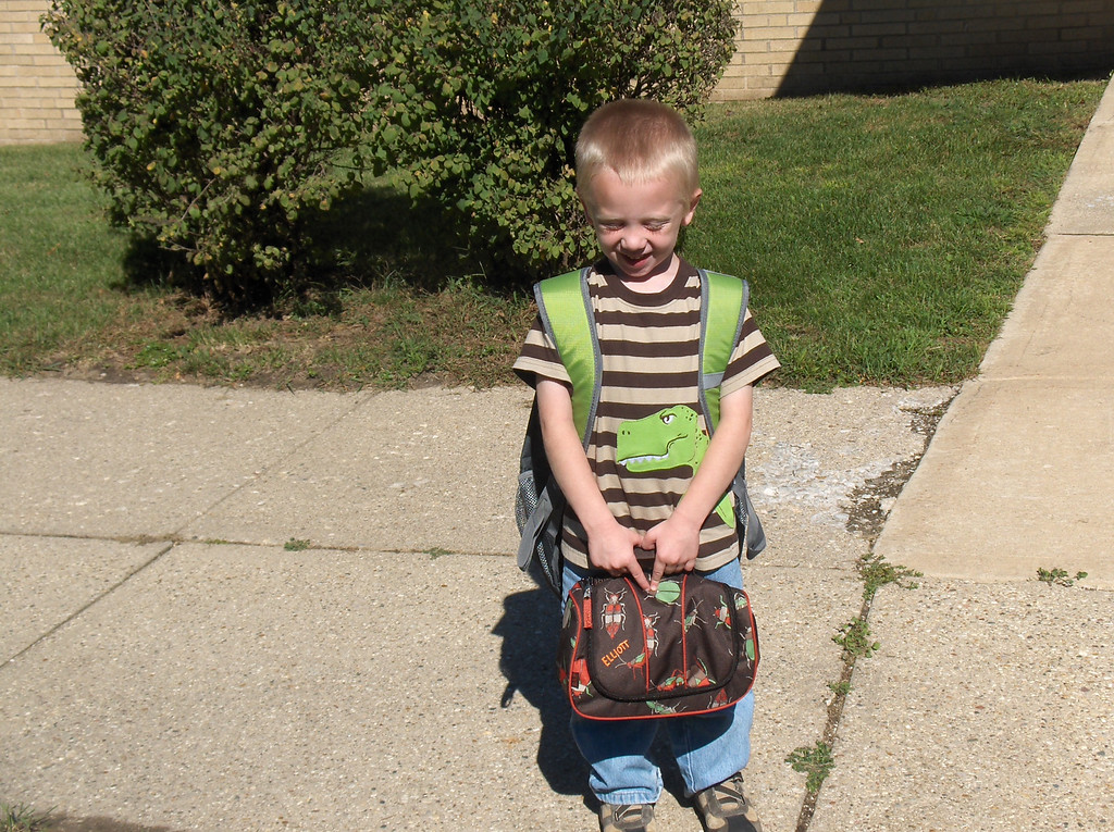Elliott's first day of preschool