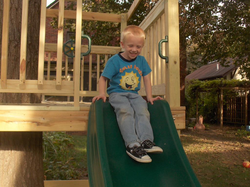 Elliott on his new tree fort