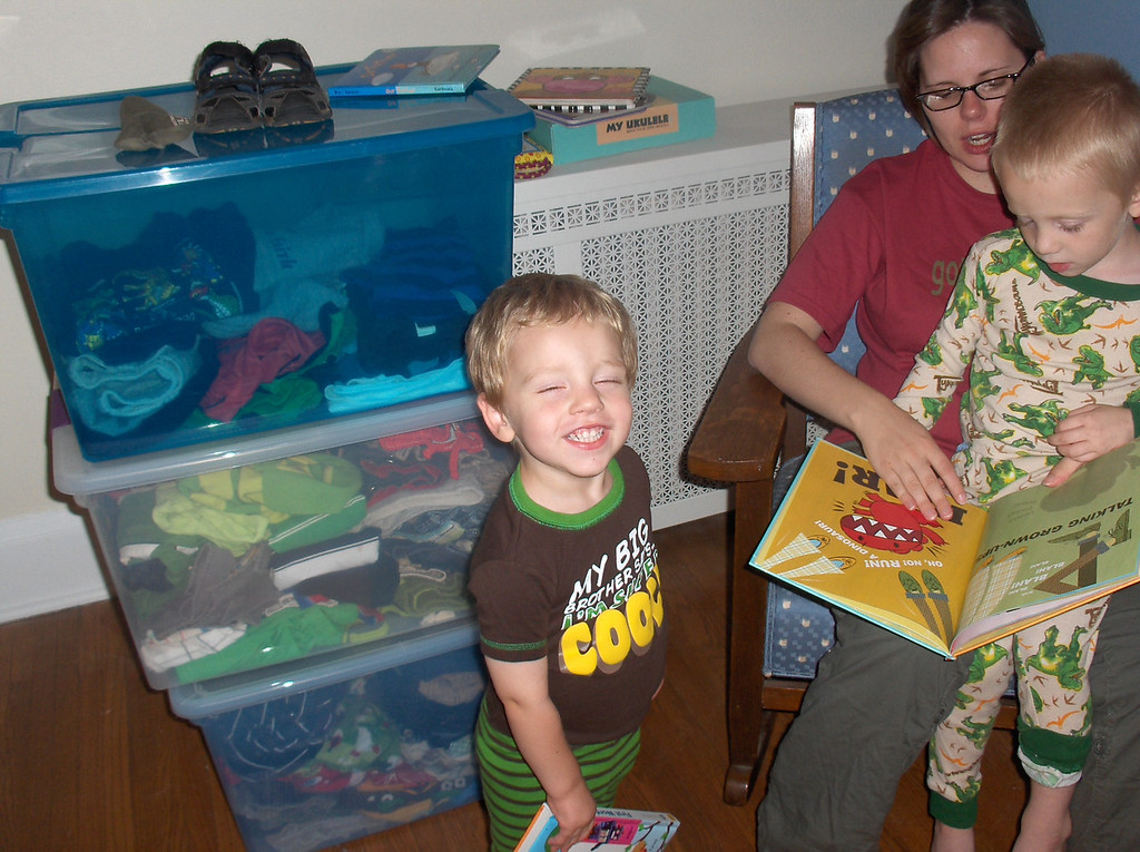 Mommy, Elliott, and Soren reading books