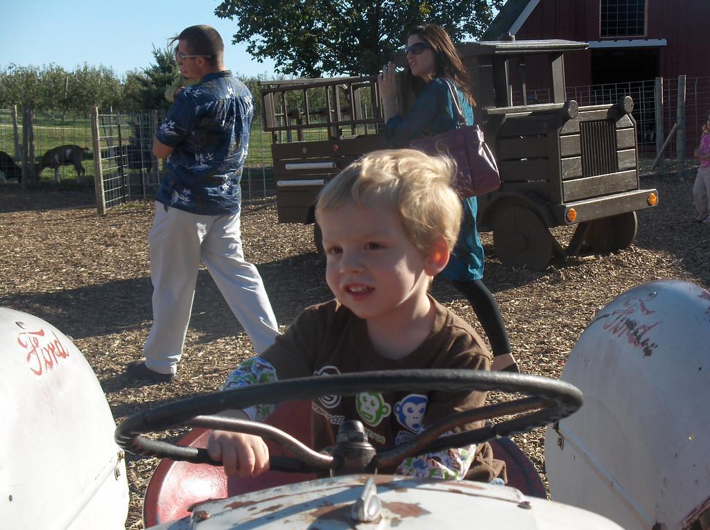 Soren driving the tractors