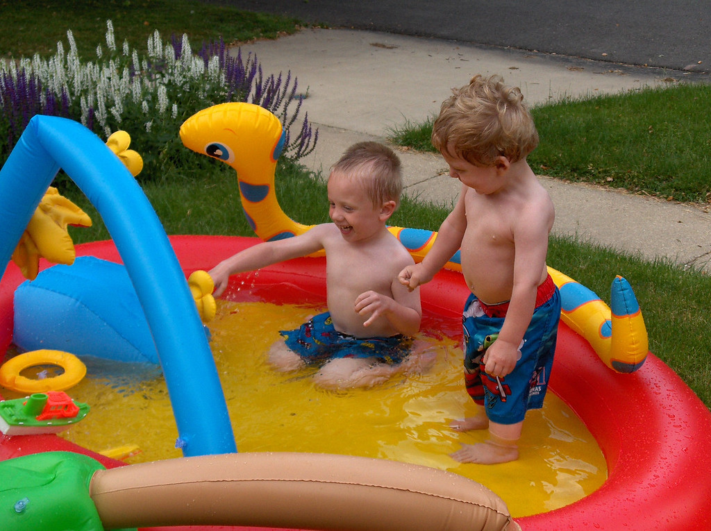 Elliott and Soren swimming