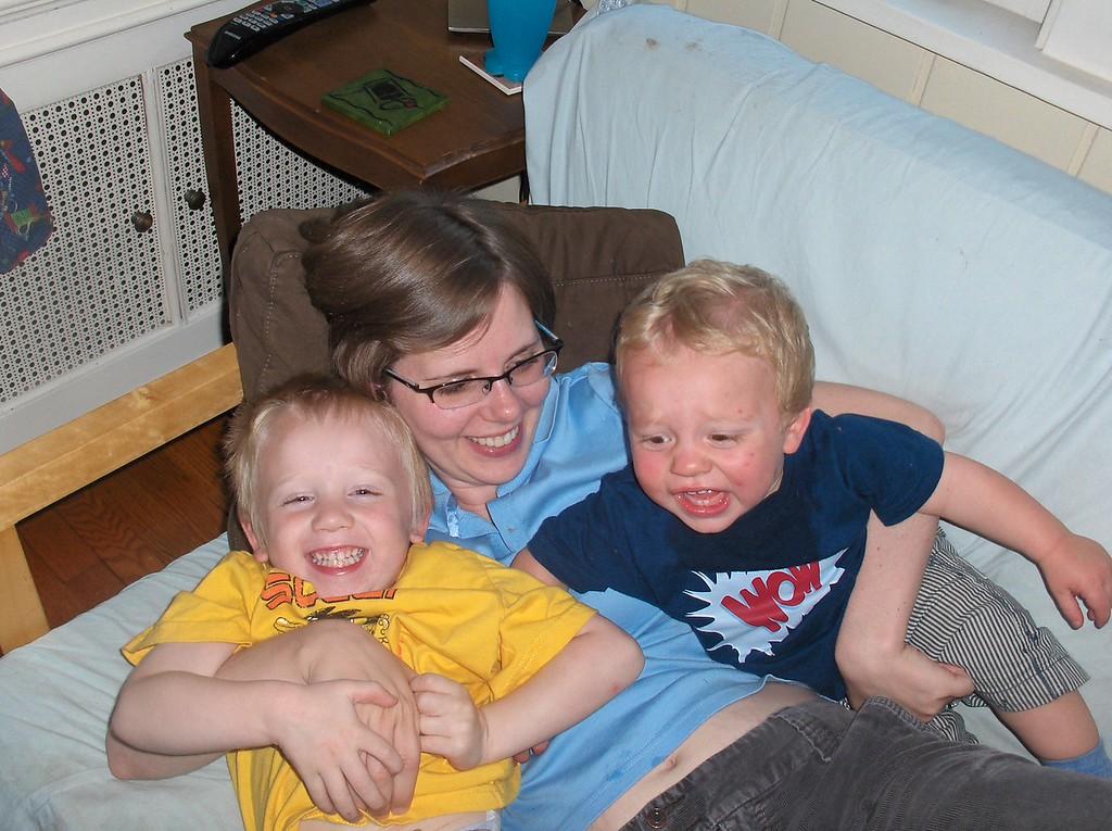 Soren and Elliott with Mommy