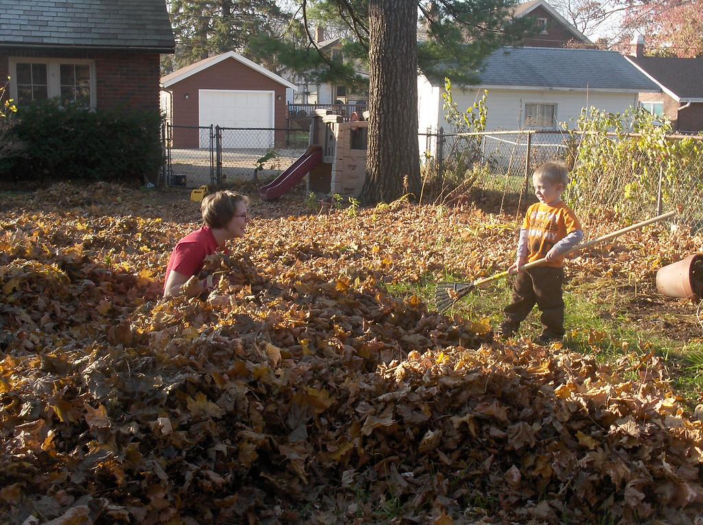 Elliott helps rake the leaves