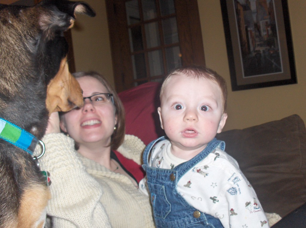 Soren Swenson hanging with mommy and the dog. November 2008