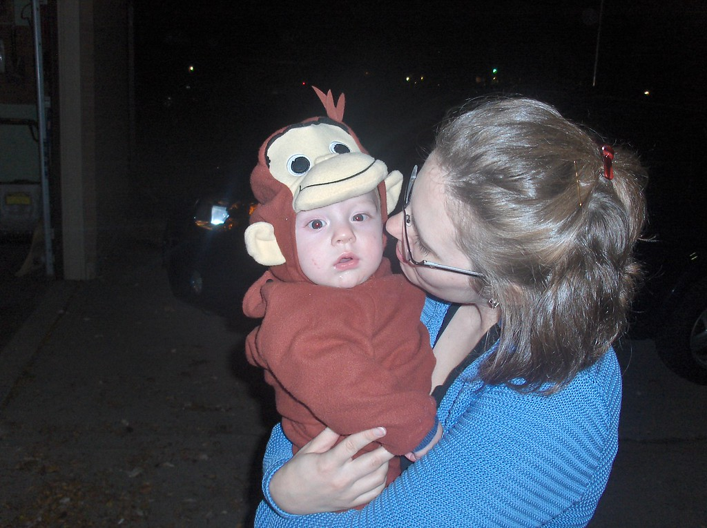 Soren Swenson on his first halloween dressed as curious george with Jennifer.  Oct. 2008