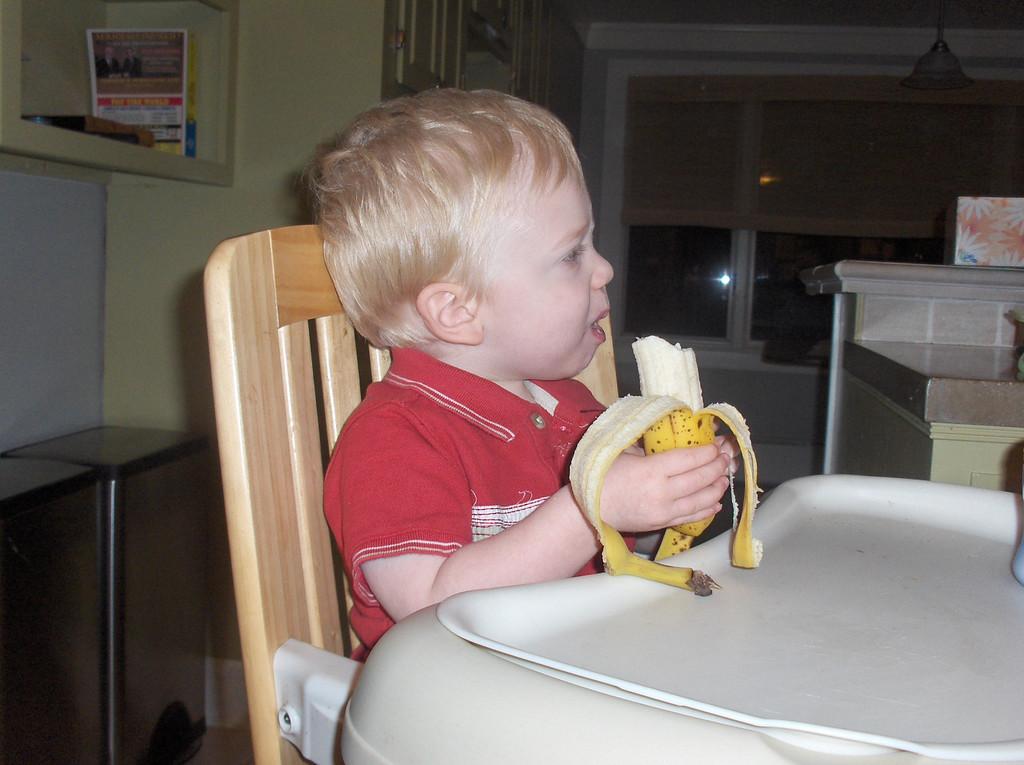 Elliott eating a banana